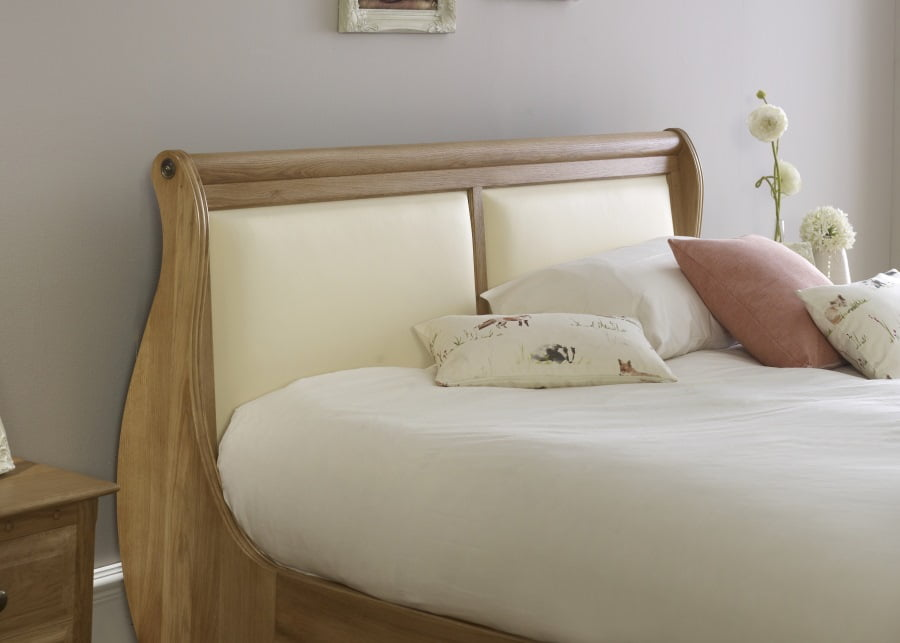 Solid Oak Sleigh Bed Headboard with Cream Leather