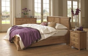 Mature Oak Sleigh Bed with Solid Oak Bedroom Furniture