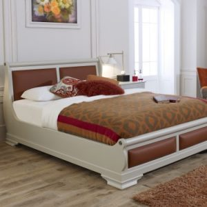 Painted Wooden Sleigh Bed with Orange Leather