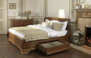 Solid Wood French Sleigh Bed with Bedroom Furniture