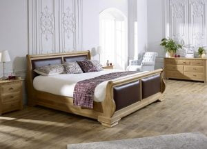 Natural Wood Leather Sleigh Bed with Bedside Cabinet and Chest