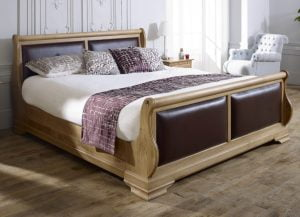 Super Kingsize Solid Oak Sleigh bed with Leather