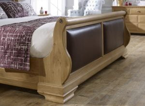 Leather Panel Detail on Sleigh Bed Footboard