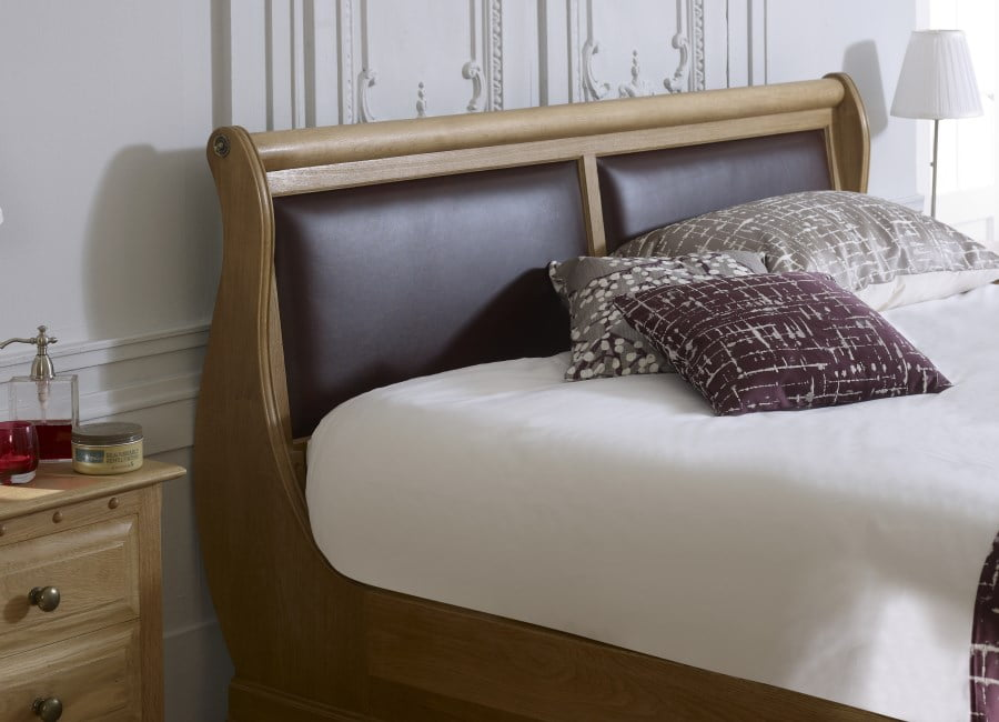 Leather Sleigh Bed Headboard Detail