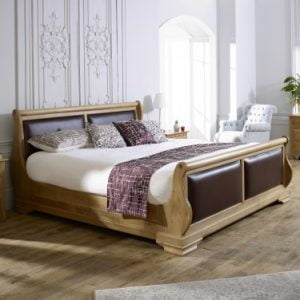 Super Kingsize Oak Sleigh Bed with Oxblood Leather