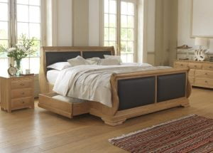 Luxury Oak Sleigh Bed with Oak Bedroom Furniture
