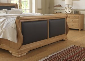 Solid Oak Sleigh Bed Footboard Detail