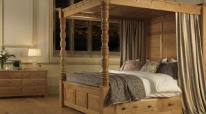 Solid Oak Four Poster Bed With Canopy And Storage Drawers