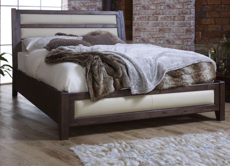 Solid Wooden Bed with Cream Leather Head and Footboard Detail