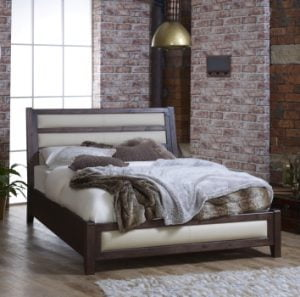 Solid Wood Bed Frame with Cream Leather