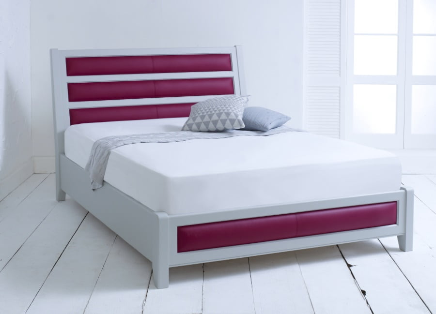 Painted Wooden Bed Frame with Pink Leather Head and Footboard
