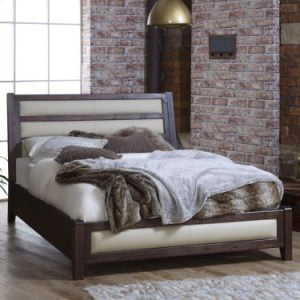 Contemporary Dark Wood Bed Frame with Cream Leather