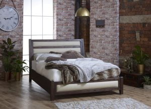 King Size Metropolitan Wooden Bed with Real Leather