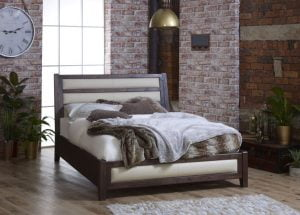 King Size Solid Wood Bed with Cream Leather Headboard