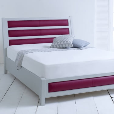 King-size Grey Painted Bed Frame with Real Leather