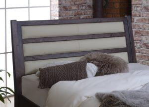 Studio Bed Frame Headboard Detail with Real Cream Leather