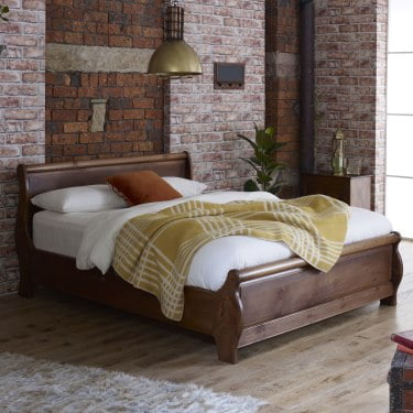 Contemporary Style Solid Wood Sleigh Bed