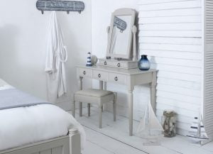 Handcrafted Painted Dressing Table, Stool and Mirror