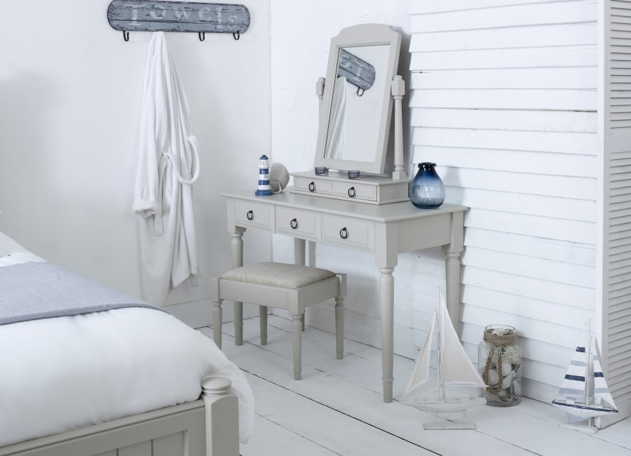 Handcrafted Painted Brittany Dressing Table, Stool and Mirror