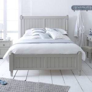 Painted New England Bed Frame with Dressing Table and Bedside Cabinet