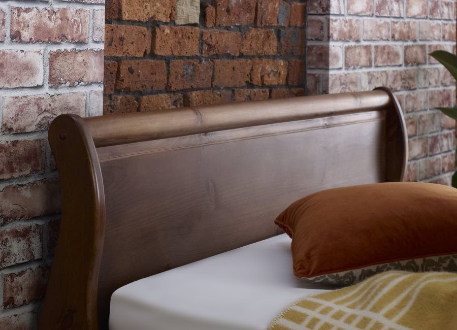 Sleigh Bed Headboard in a Natural Wood Finish