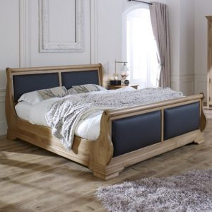 Oak Sleigh Bed With Scottish Black Leather