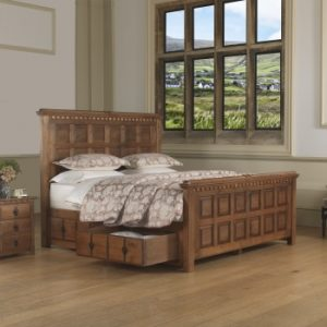 Emperor Solid Wood Bed with Storage Drawer and Bedside Cabinet