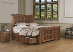 Traditional Solid Wooden Bed with Storage Drawer and Bedside Cabinet
