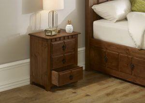 Solid Wood 3 Door Bedside Cabinet with Open Drawer