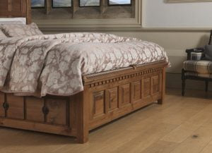 Traditional Solid Wood Bed Footboard Detail