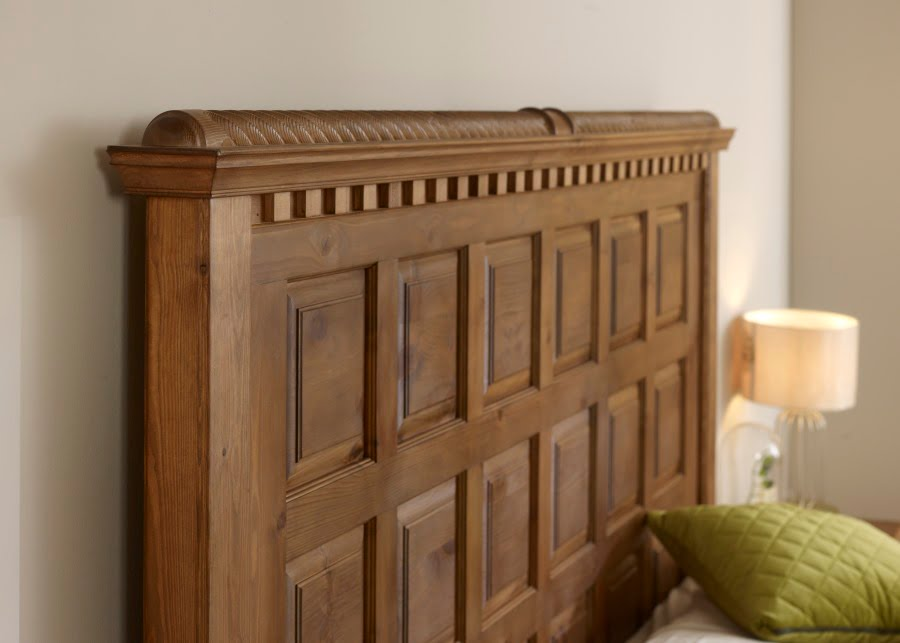 Traditional Solid Wood Square Panel Bed Headboard