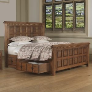 Emperor Size Solid Wood Bed with Storage Drawers