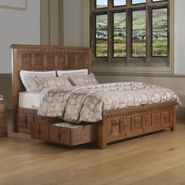Large Panelled Wooden Bed with Under Bed Storage Drawers