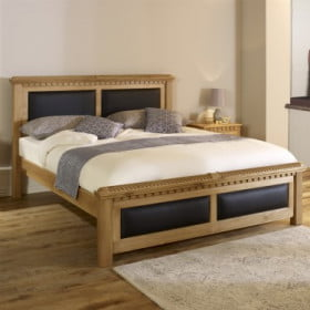 Traditional Oak Bed with Black Leather Panels