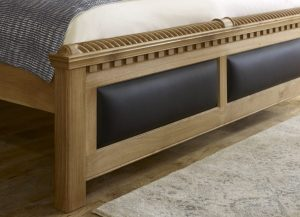 Solid Wood and Leather Footboard