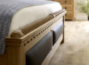 Solid Wood Footboard Detail with Leather Panel Detail