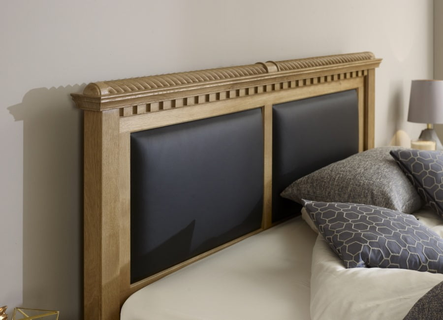 Solid Wood Headboard with Leather Panels