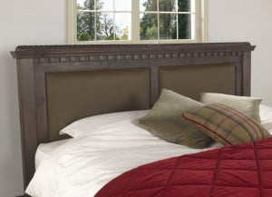 Traditional Wooden Bed Headboard with Leather Panels