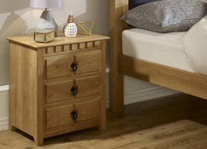 Solid Oak 3 Door Bedside Cabinet