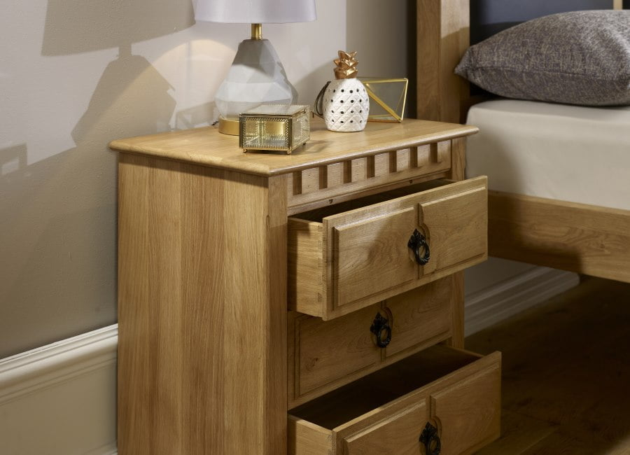 Solid Oak 3 Door Bedside Cabinet with Drawers Open