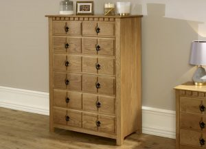 Solid Oak Chest of Drawers with Bedside Cabinet