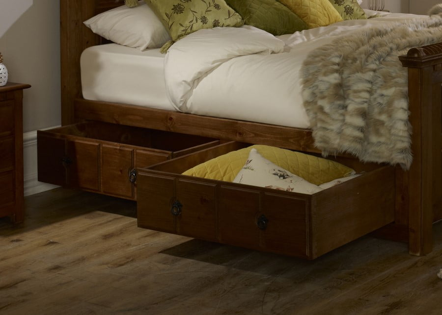 Two Solid Wood Underbed Storage Drawers Under Wooden Bed