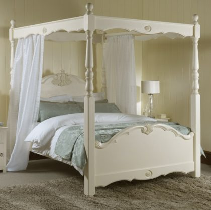 Painted French Four Poster Bed with Drapes