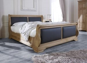 Handcrafted Oak Sleigh Bed with Scottish Black Leather