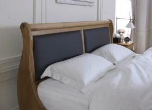 Sleigh Bed Headboard with Black Leather Panels
