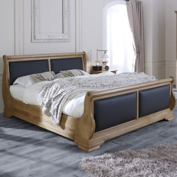 Solid Oak Sleigh Bed with Black Leather