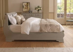 French Sleigh Bed in a Painted Finish with Chest of Drawers