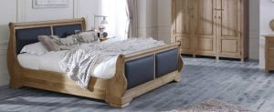 Solid Oak Sleigh Bed, Oak Wardrobe and Chest of Drawers