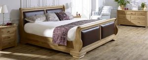 Super King-size Solid Oak Sleigh Bed with Bedside Cabinet and Wooden Chest