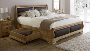 Super Kingsize Solid Oak Sleigh Bed